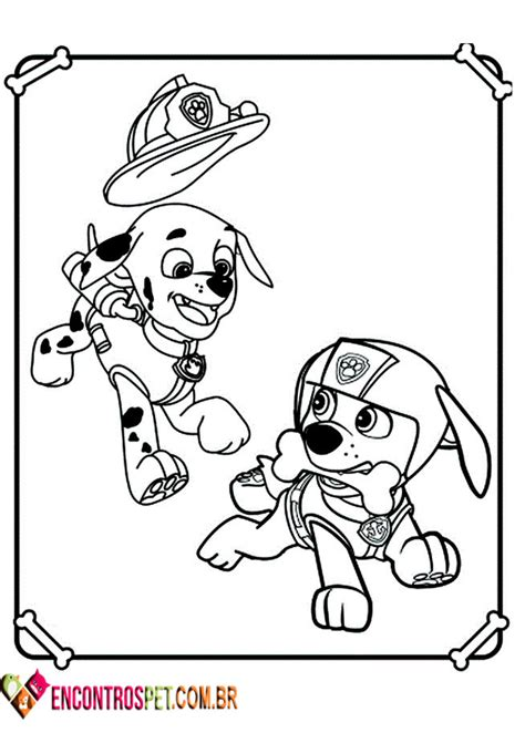 patrulha canina para colorir pintar e imprimir 50 desenhos encontros pet