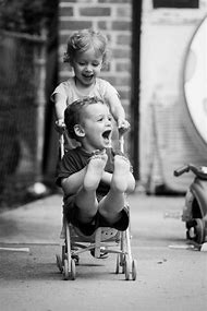 Black and White Kids Playing