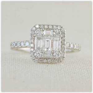 Diamond cluster engagement ring wedding engagement for Cluster wedding rings