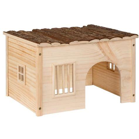 maison pour lapin abri pour lapin maison pour rongeurs en bois de pin 41 cm x 34 5 cm x 26 cm tectake achat