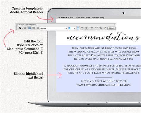 wedding accommodations card insert wedding templates