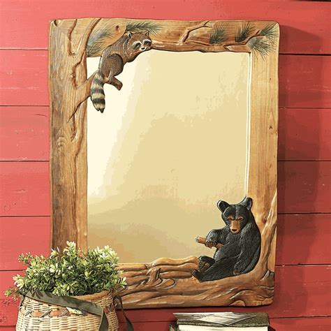 Rustic Mirrors: Bear & Raccoon Carved Wood Mirror