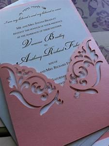 wedding invitation laser cut elegant damask pattern pocket With laser cut wedding invitation sleeve pocket