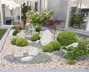 Gartengestaltung mit kies und steinen modern garten steine for Garten planen mit natur sichtschutz balkon