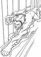 Torch Coloring Human Pages Fantastic Four Fury Super Heroes sketch template