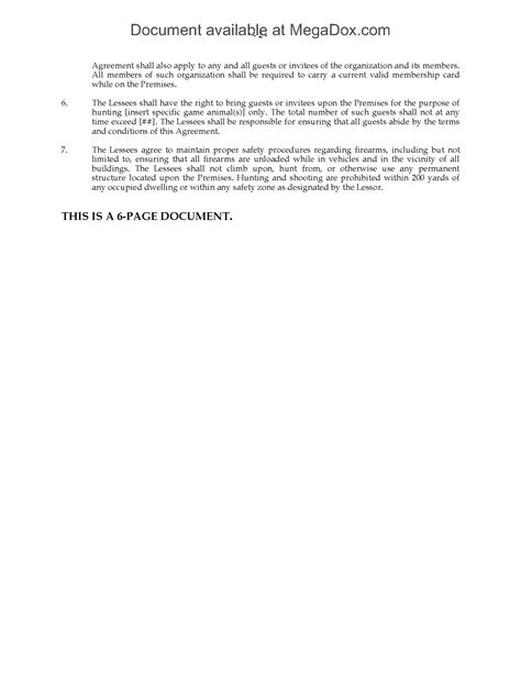 texas hunting lease agreement legal forms  business