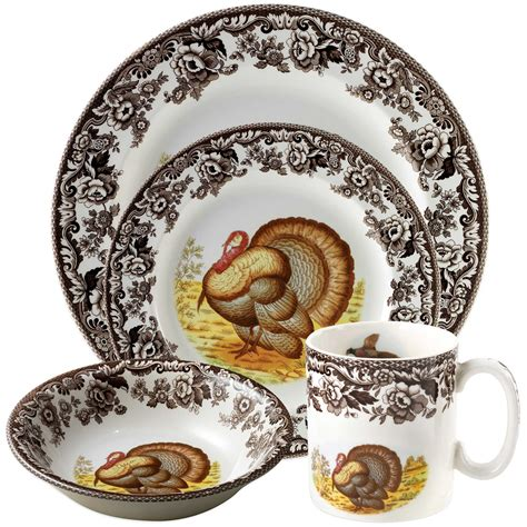 spode dinnerware turkey woodland collection beyond bath bed thanksgiving sets plates holiday casual bedbathandbeyond dining dishes sc st piece u0026
