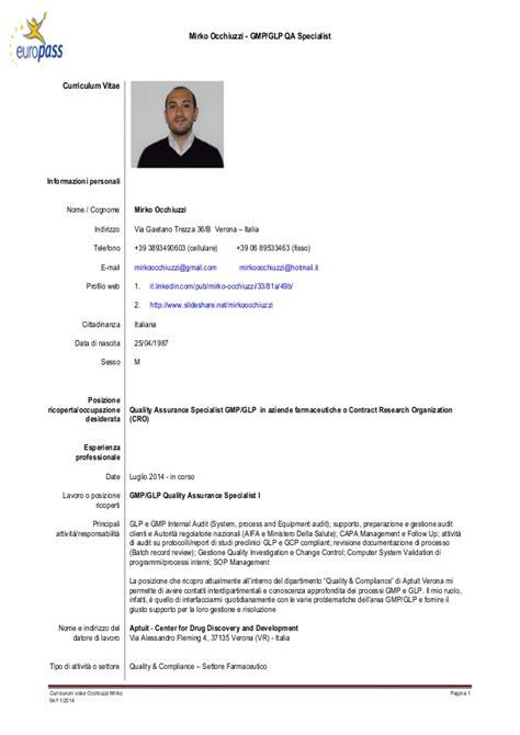 Qa Qc Curriculum Vitae by Cv Mirko Occhiuzzi Quality Specialist 04 11 2014