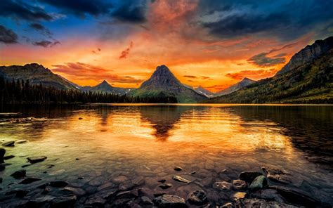 wallpaper  medicine lake glacier national park