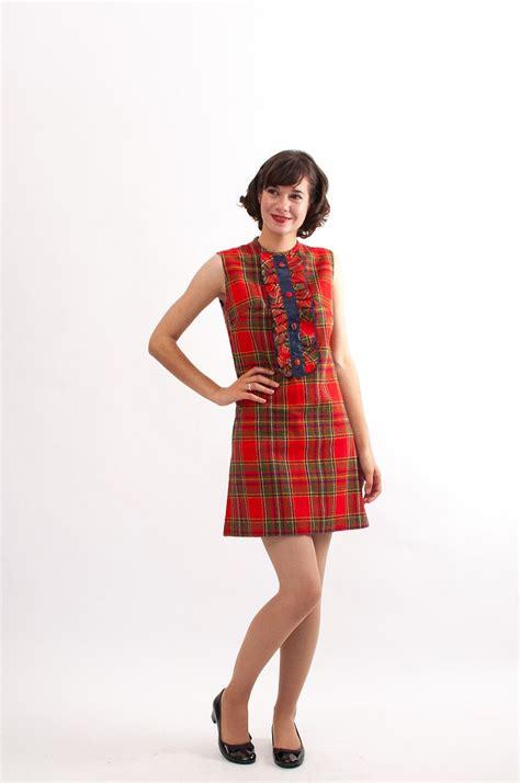 vintage  plaid dress  mini dress red plaid