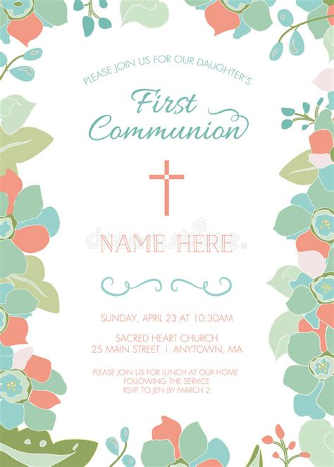 First Communion Baptism Christening Invitation Template