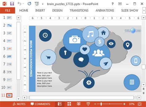 psychology powerpoint template  brain puzzle animations