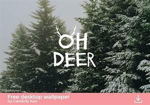 Oh Deer snowy trees Christmas tree cute background ...