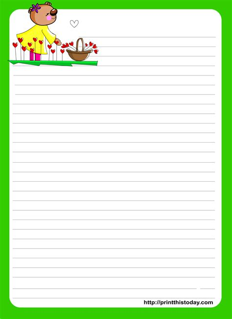 letter writing paper  kids printable college paper sample