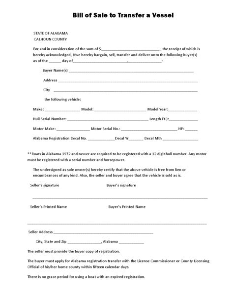 Boat Loans In Alabama by Free Alabama Calhoun Country Vessel Bill Of Sale Form