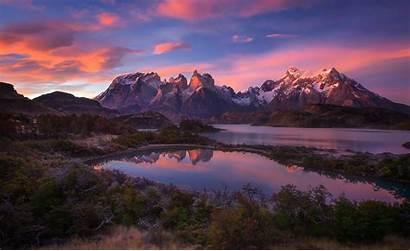 Mountain Sunrise Lake Landscape Chile Nature Patagonia