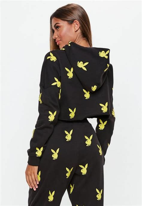 playboy  missguided black repeat hoodie missguided