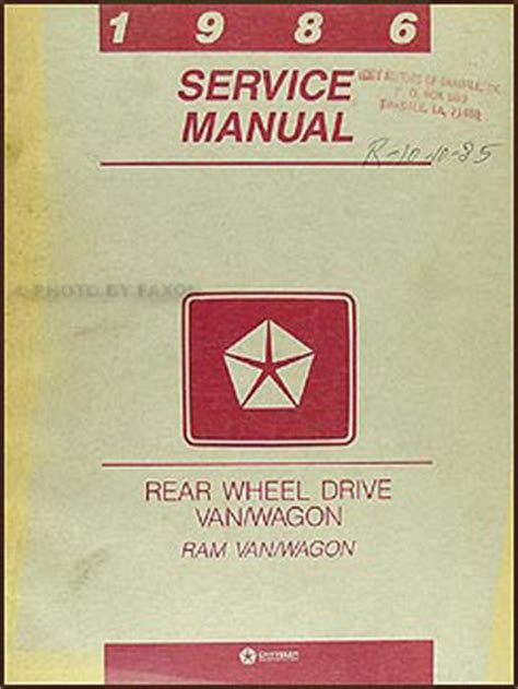 auto repair manual online 1992 dodge ram wagon b250 engine control 1986 dodge ram van wagon repair shop manual original b150 b350