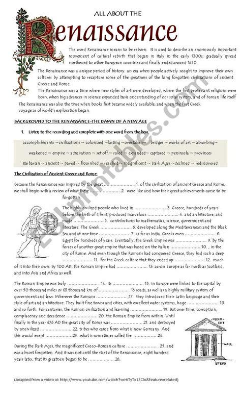 renaissance worksheet pdf kidz activities