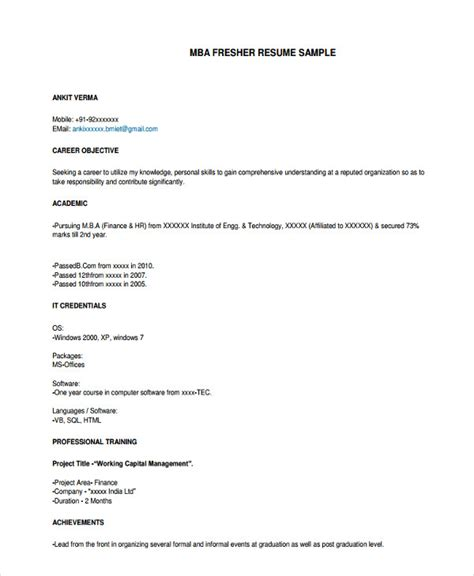 8 professional fresher resume templates in word pdf