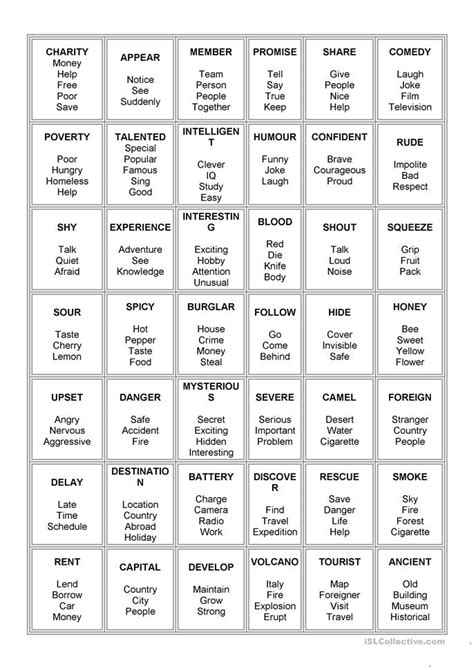 taboo worksheet  esl printable worksheets