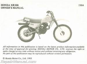 1984 Honda Xr200 Motorcycle Owners Manual