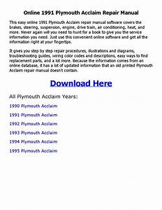 1991 Plymouth Acclaim Repair Manual Online By Nathaniel