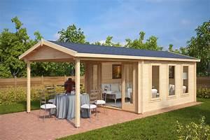 Gartenhaus mit terrasse eva e 12m2 44mm 3x4 for Gartenhaus terrasse