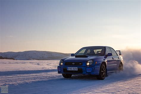 subaru wrx drifting drifting on icy roads from norway to lapland