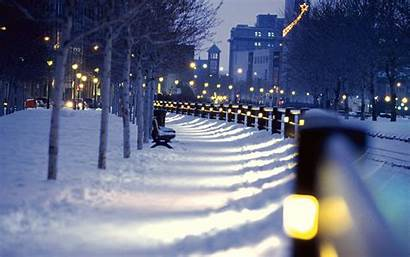 Snow Winter Night Cityscape Desktop Wallpapers Anime