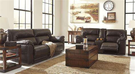 Reclining Living Room Sets : Barrettsville Durablend Chocolate Power Reclining Living