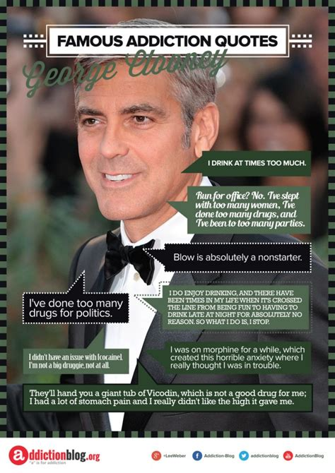 George Clooney's Quotes On Drug And Alcohol Use (infographic. Good Quotes About Beauty. Motivational Quotes For Athletes. Beautiful Queen Quotes. Quotes About God's Strength And Love. Music Quotes Marilyn Manson. Short Quotes Journey. Quotes About Moving Cities. Encouragement Quotes Harry Potter