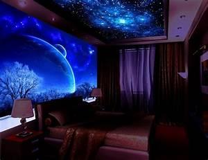 Sternenhimmel Kinderzimmer Decke : schwarzlicht farbe 16 eindrucksvolle designs f r wand und decke ~ Markanthonyermac.com Haus und Dekorationen