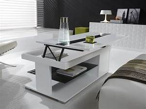 Table Basse Relevable Blanc Laqu Design ELSYE