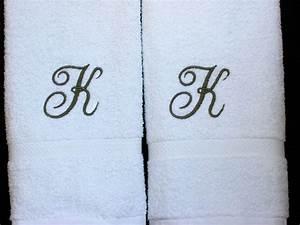 Monogrammed towels letter k towels cotton hand towels for Hand towels with letters