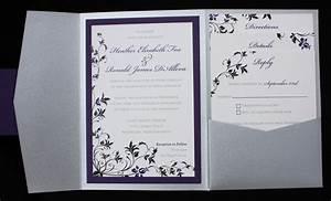 Dark Purple, Black & Silver Floral Pocketfold Wedding ...