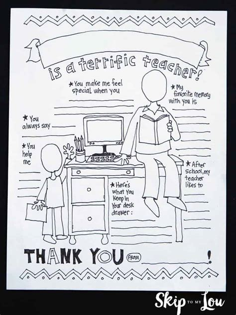 teacher coloring page teacher appreciation gift