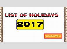 2017 List of Holidays, West Bengal Public Holidays 2017