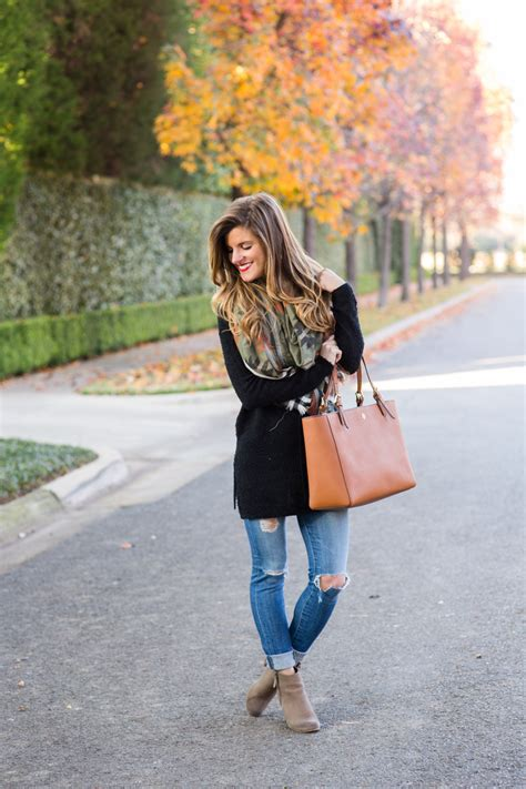 546d9b320c2 Tunic and Scarf Outfit + Ripped Jeans + Ankle Booties