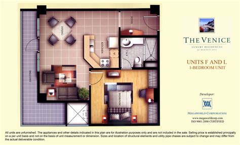 1 Bedroom Unit Layout by Units F And L 1 Bedroom Unit Megaworld Condominiums
