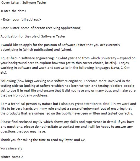 Cover Letter For Software Tester by Software Tester Cover Letter Cover Letters And Cv Exles