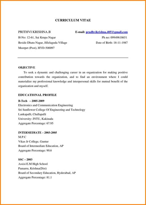resume for fresher mechanical engineer sle 28 images