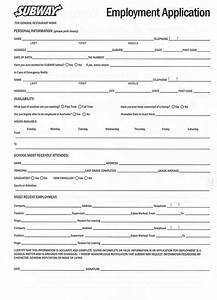 Printable Employment Application For Subway | Employment ...