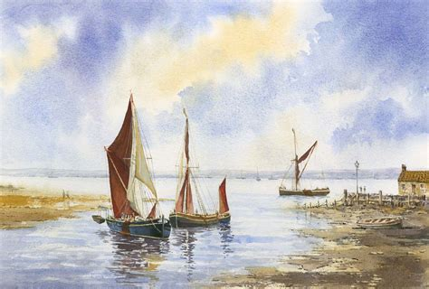 thames barges ukwatercolours