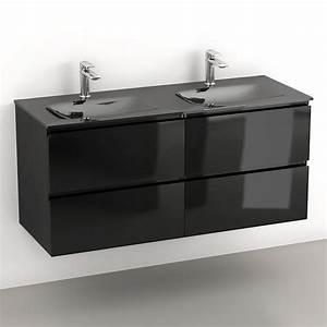 Meuble Double Vasque Suspendu : glass3 meuble salle de bain suspendu noir brillant 120 cm double vasques verre ~ Melissatoandfro.com Idées de Décoration