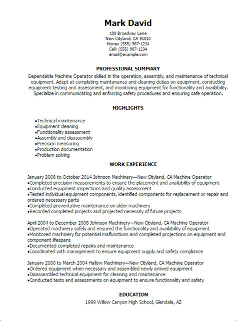 machine operator resume templates