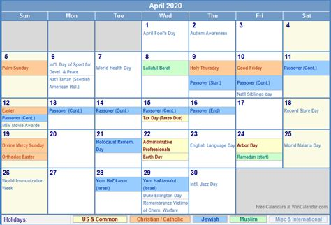 april calendar holidays picture