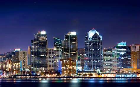 downtown san diego buildings lights hd wallpaper