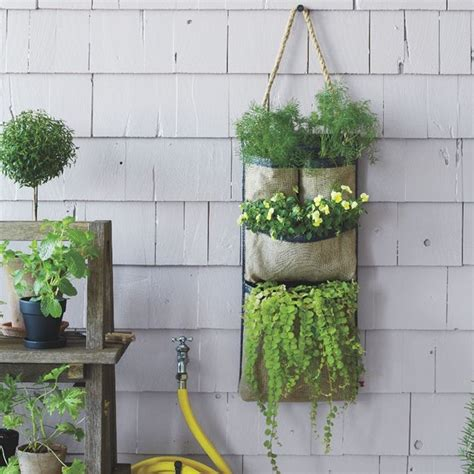 fence hanging planters hanging bag planter contemporary outdoor pots and
