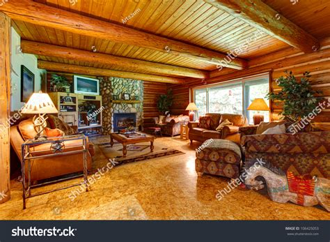 log cabin living room interior wood stock photo